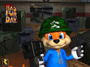 A gauche Conker dans Diddy Kong Racing à droite le personnage dans Conker Bad Fury Days.
