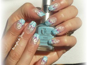 French turquoise et violet