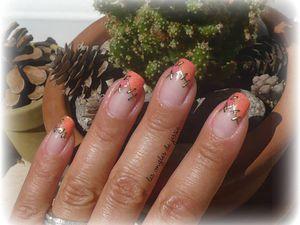 French saumon Nail-Art raccords en or