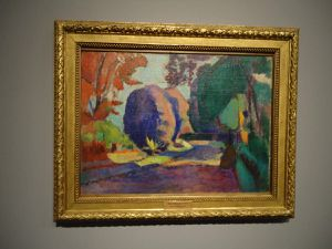 """En haut Matisse """"Le Jardin du Luxembourg"""" vers 1901 (Ermitage) et """"Vue de Collioure"""" 1905 (Ermitage) puis Derain """"Le Port (Port-Vendres)"""" 1905 (Ermitage) et Marquet """"Vue de Saint-Jean-de-Luz"""" 1907 (Ermitage)"""