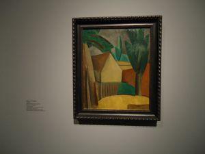"""En haut Picasso """"Maisonnette et arbres"""" août 1908 (Pouchkine) puis Braque """"Le Château de la Roche-Guyon"""" 1909 (Pouchkine) et encore Picasso """"Maisonnette dans un jardin"""" 1908 (Ermitage)"""
