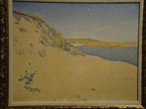 """En haut, Guillaumin """"Paysage aux ruines"""" 1890 (Pouchkine) et Henri Moret """"Port Manech"""" 1896 (Ermitage) puis ci-dessus Paul Signac """"Bord sablonneux de la mer, Saint-Briac"""" et détail, 1890 (Pouchkine)"""