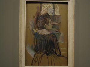 """Carrière """"Femme accoudée"""" 1893 (Ermitage), Toulouse-Lautrec """"Femme à la fenêtre"""" 1889 (Pouchkine), Picasso """"La buveuse d'absinthe"""" 1901 (Ermitage)"""
