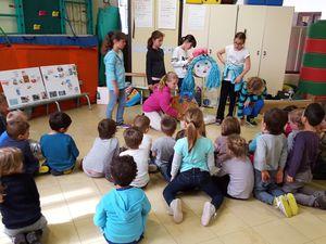 Intervention du 11 Mai 2016, en maternelle moyenne section, avec l'association des Baleineaux et les Perles de Jules Ferry (CM1) qui sont venus sensibiliser leurs petits camarades !