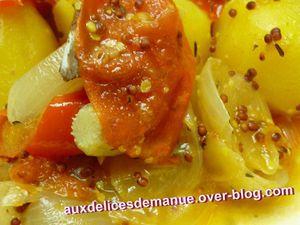 cuisse de poulet au chorizo, pommes de terre et sauce moutarde