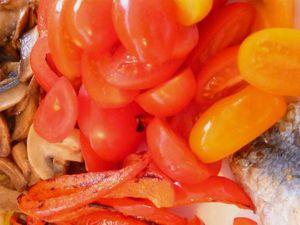 salade de légumes crus et grillés et ses sardines
