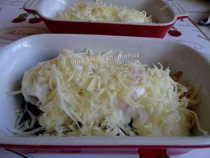 cassolettes d'asperges vertes fraîches aux noix de Saint-Jacques et crevettes gratinées à la crème épaisse - LIGHT -