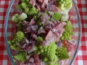 Chou romanesco au bacon et oignon rouge, gratiné à la crème allégée-LIGHT-