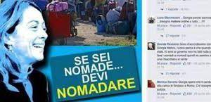A sin, il manifesto di Giorgia Meloni contestato&#x3B; a destra, Luca 'O Zulù, leader dei 99 Posse