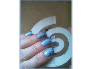 Nail art arabesques à l'aquarelle sur ongles courts &quot&#x3B;2&quot&#x3B;..