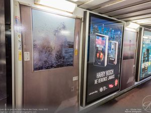 Les panneaux faisant suite aux fresques dans le centre du souterrain de la gare de Saint Pierre des corps.