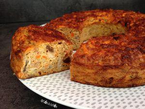 Cake salé muesli (carotte/maquereaux/raisins/oignons)