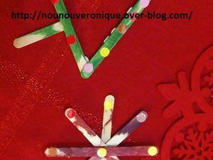 Pour fabriquer le sapin, former un triangle avec les bâtons puis coller les, coller un autre bâton au milieu d'un des bâton du triangle. Pour former l'étoile superposer des bâtons les uns sur les autres pour former une étoile et coller les entre eux. peindre les sujets puis coller des gommettes. Et voilà de jolies déco pour le sapin!!