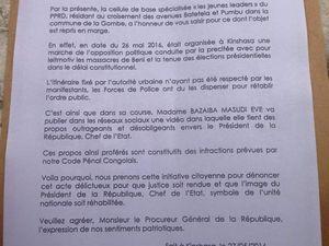 """1. La plainte des """"Jeunes leaders du PPRD"""" - 2. La manif de l'opposition. Ici sur 24 Novembre à Lingwala"""