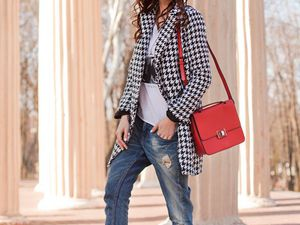 Inspiring And Sylish Houndstooth Print Outfits for Women in Winter