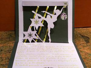 Carte&#x3B; Enveloppe 3D&#x3B; Noël&#x3B; Femme&#x3B; Danseuse&#x3B; Kirigami&#x3B; Fait maison.