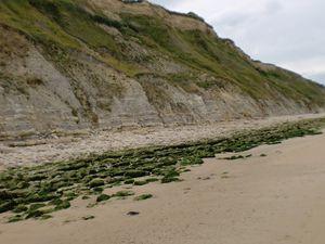 du sable et des rochers glissants