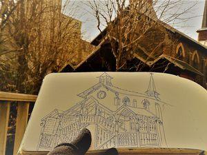 Pendant le dessin... (j'ai regardé à travers l'arbre !)