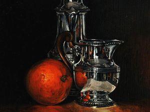 Orange, argenterie   Huile sur bois ou toile   Environ 33X41   Bhavsar