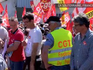 Plus de 1000 manifestants à La Souterraine le 16 mai 2017 (capture d'écran RT France)