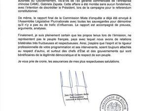 Lettre de l'Ambassade de Bolivie à la chaîne