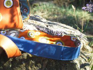 (Simili cuir et coton pois sur fond bleu ou orange)