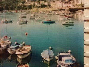 Bretagne littorale-petites-maisons-pêcheurs-porte, volets et soupirail-bleus-port-4-teintes bleues-Cl. Elisabeth Poulain