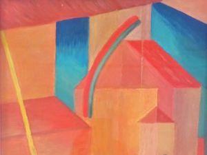 *Peinture-La dame en noir aux cheveux rouges dans la ville-Coll. Emmaüs. Cl. Elisabeth Poulain