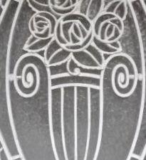 Grille fer forgé 1930, avec bouquet central, détail, architecture normande, Cl. Elisabeth Poulain