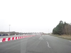 A11, entre éclaircie et brouillard, sortie d'Angers vers le Mans, Cl. Elisabeth Poulain