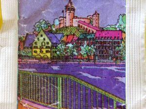 Schaffhausen recto, son canton verso en rouge, sachet de sucre en poudre suisse, Cl. Elisabeth Poulain