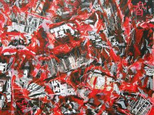 "Christine Olivier, peintures et collages ""Rouge-Noir-Blanc"""