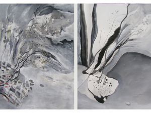 Peinture et diptyque de Catherine Morthelier