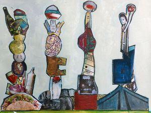 Collage peint initial, et sa réinterprétation sur une base de raclages, par Joëlle Dampéront (Cliquez pour voir les images en entier).