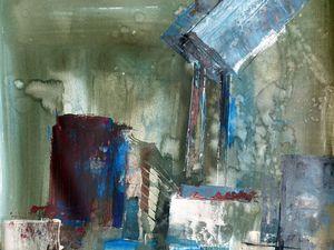 Peinture de Sylvie D., et sa réinterprétation au trait (Cliquez pour agrandir).