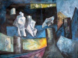 Peintures de Ladin Sabras : 1. Version figurative. 2. Version abstractisée (Cliquez pour agrandir)