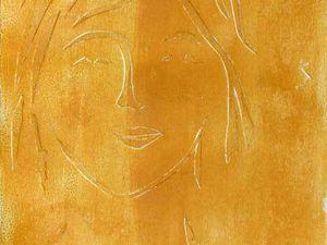 Monotype, et collage relief avec lavis patiné, de Crucetta Chavand (cliquez pour agrandir)