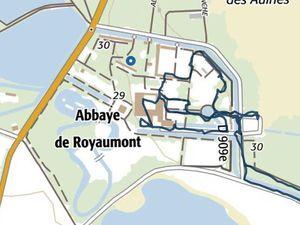 Tracé de la visite et vue aérienne de l'abbaye