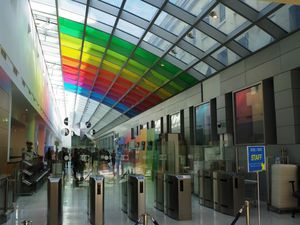 L'immense hall d'entrée des bâtiments de l'O.C.D.E.