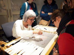 La démonstration du crochet lunéville avec Lise samedi soir lors de la nuit blanche dans le cadre de Montréal en lumière