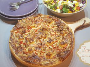Quiche au thon, oignon, tomate et Vache Qui Rit!!