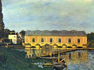 """Barrage de la Machine de Marly"" par Alfred Sisley, 1876 et les vestiges actuels de la Machine de Dufrayer"