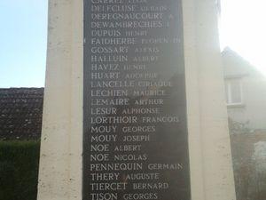 Le monument aux morts de Wandignies-Hamage (Source Lille-3)