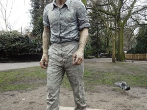 The curious 'Walking Man', sculpture in Holland Park by Dhruva Mistry.
