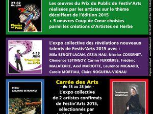 Programme des 3 expositions Chemins des Arts à la Maison Carrée de Nay en juin 2015