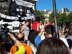 """Manifestation, place de la République, à Paris, à l'occasion de la """"deuxième journée mondiale, Femmes sans voile"""""""