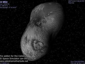 """Apophis l'astéroïde, celons la NASA. On dirait une vielle patate pourrie au fond d'un composteur de jardin. Saviez vous que le terme """"nasa"""" en hébreu signifiait """"supporter"""" ? Comme les mensonges de ce temple du Graal Noir supporte celui originel de la nature de notre Univers, la matrice du démiurge."""