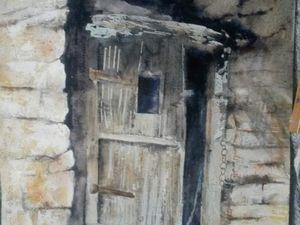 pose des ombres et rééquilibrage de la teinte de la porte .Encore un peu de travail dan le véinage du bois et le premier plan .