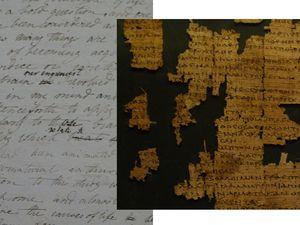 Collections de la bibliothèque : page du cahier de notes de Mary Shelley (Frankenstein!) et parchemin d'un poème de Sapho. Reliures bijoux.
