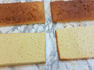 Quand les cakes sont cuits, attendez 10 minutes avant de les démouler et qu'ils soient entièrement froids avant de les couper en deux avec un grand couteau denté.